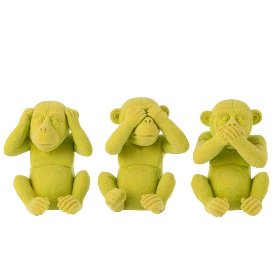 Decoration Figure Monkeys Hear See Silence - Yellow