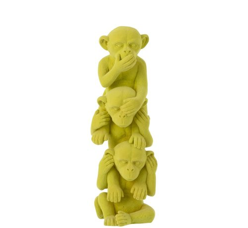 J -Line Decoration Figure Monkeys Totem Hear See Silence - Yellow