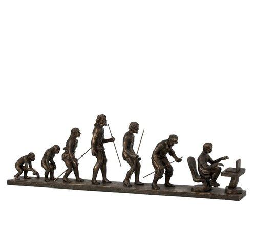 J -Line Decoration Figure Evolution Of Man - Bronze