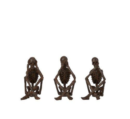 J-Line Decoratie Figuur Skeletten Horen Zien Zwijgen - Brons