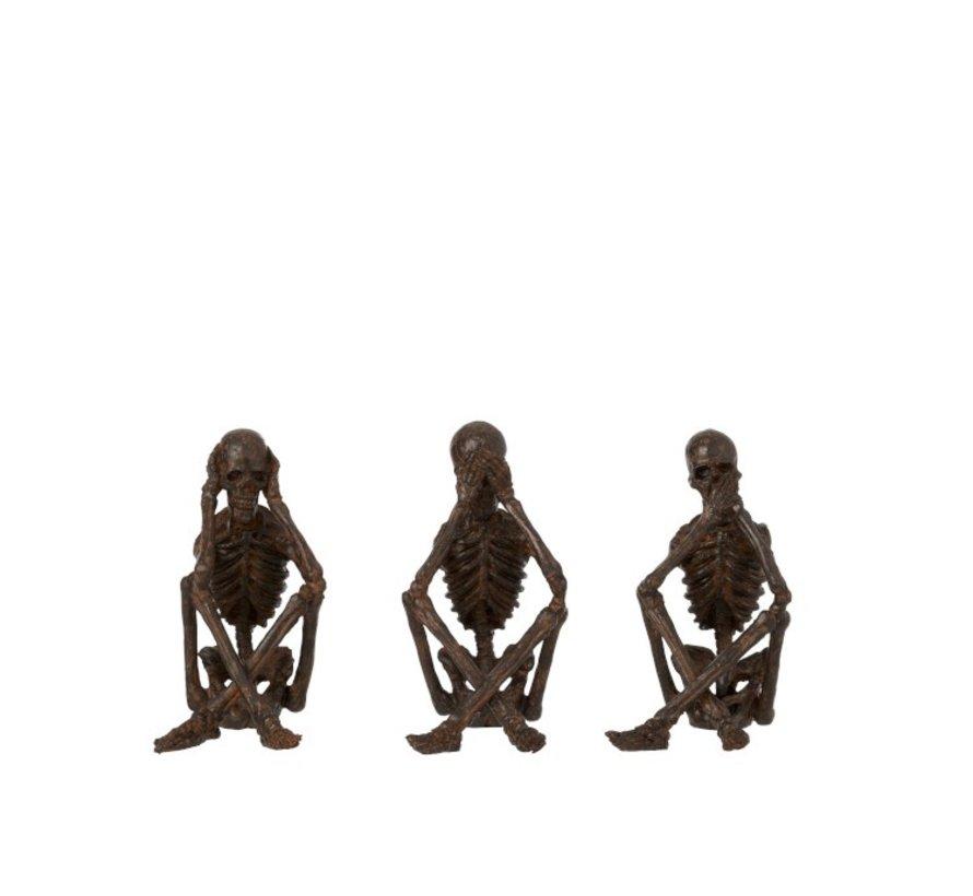 Decoratie Figuur Skeletten Horen Zien Zwijgen - Brons