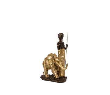 J -Line Decoration Figure African Boy With Elephant - Gold