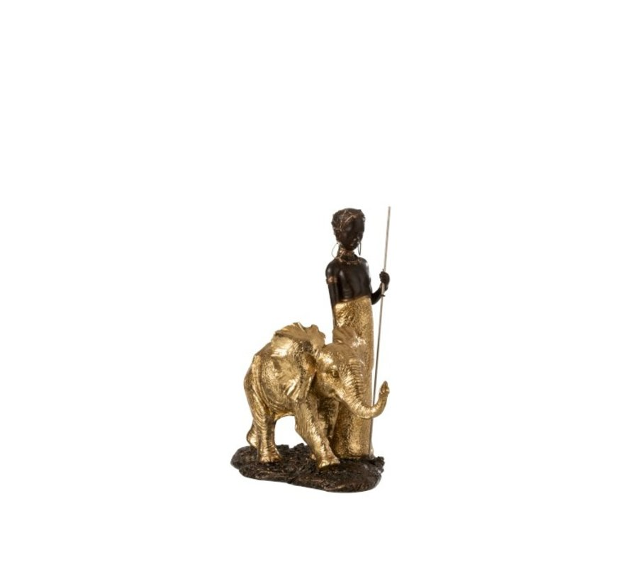 Decoration Figure African Boy With Elephant - Gold