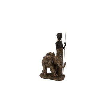 J -Line Decoratie Figuur Afrikaanse Jongen Met Olifant - Bruin