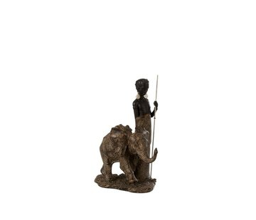 J -Line Decoration Figure African Boy With Elephant - Brown