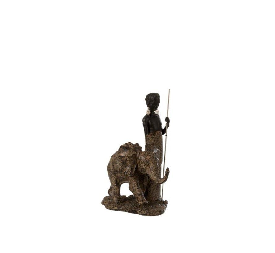 Decoratie Figuur Afrikaanse Jongen Met Olifant - Bruin