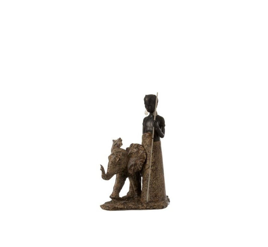 Decoration Figure African Boy With Elephant - Brown
