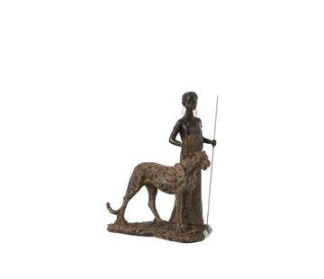 J-Line  Decoratie Figuur Afrikaanse Jongen Met Luipaard - Bruin