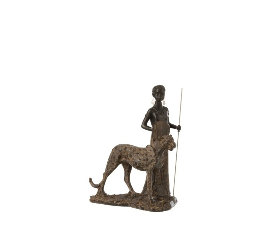 Decoration Figure African Boy With Leopard - Brown