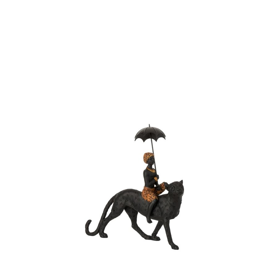Decoratie Figuur Jongen Paraplu Op Luipaard Zwart - Bruin