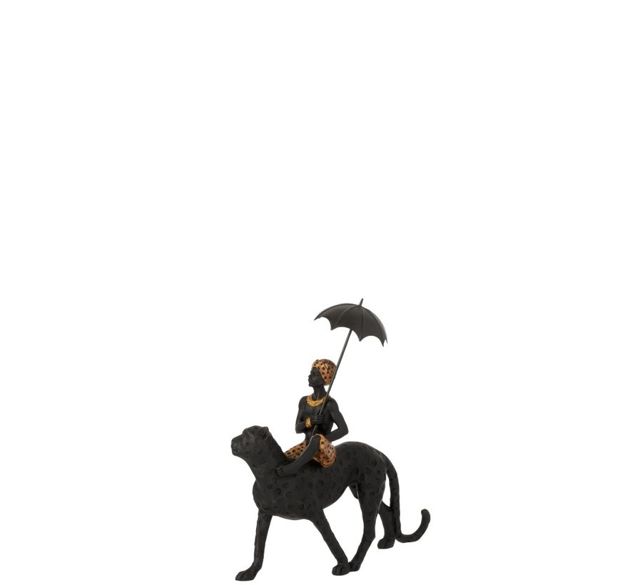 Decoration Figure Boy Umbrella On Leopard Black - Brown