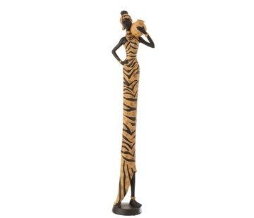 J-Line Decoratie Figuur Afrikaanse Vrouw Kruik Zwart - Bruin
