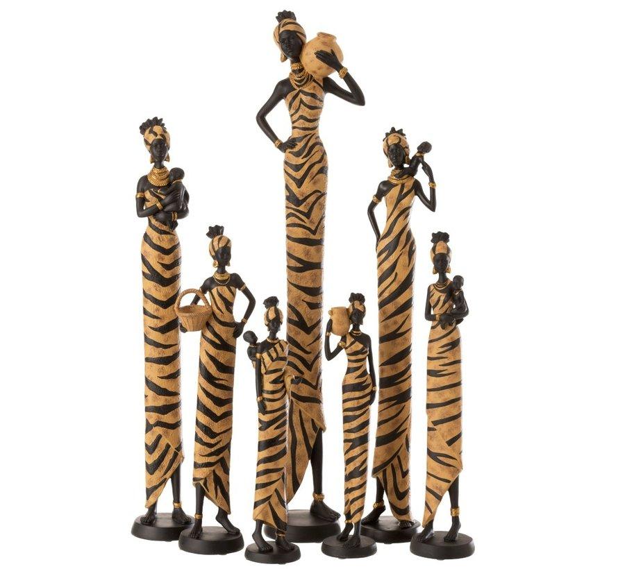 Decoratie Figuur Afrikaanse Vrouwen Baby Mand - Bruin