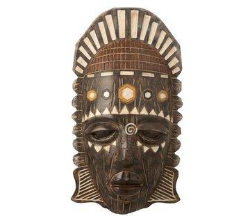J-Line  Wanddecoratie Afrikaanse Masker Mix - Bruin