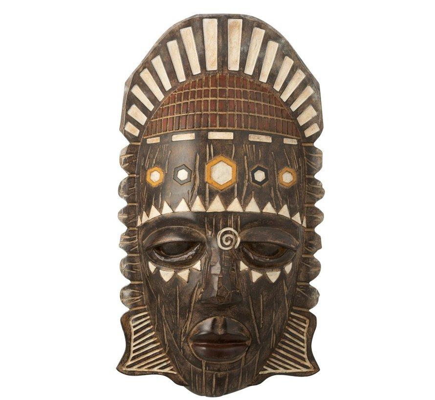 Wanddecoratie Afrikaanse Masker Mix - Bruin