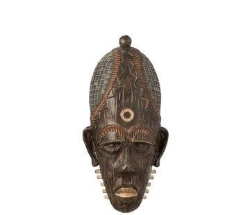 J -Line Wanddecoratie Afrikaanse Masker Lang Mix - Bruin
