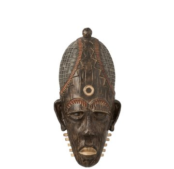 J -Line Wall decoration African Mask Long Mix - Brown