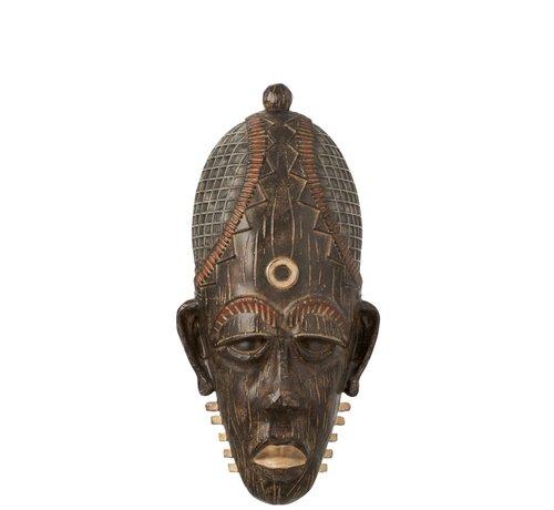 J-Line  Wanddecoratie Afrikaanse Masker Lang Mix - Bruin