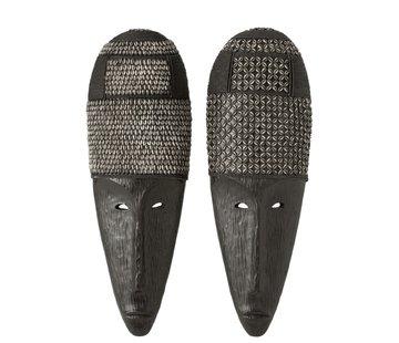 J-Line  Wanddecoratie Afrikaanse Masker Schelpen Zwart - Bruin