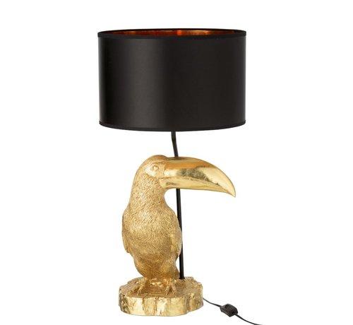 J -Line Tafellamp Toekan Zwarte Lampenkap - Goud