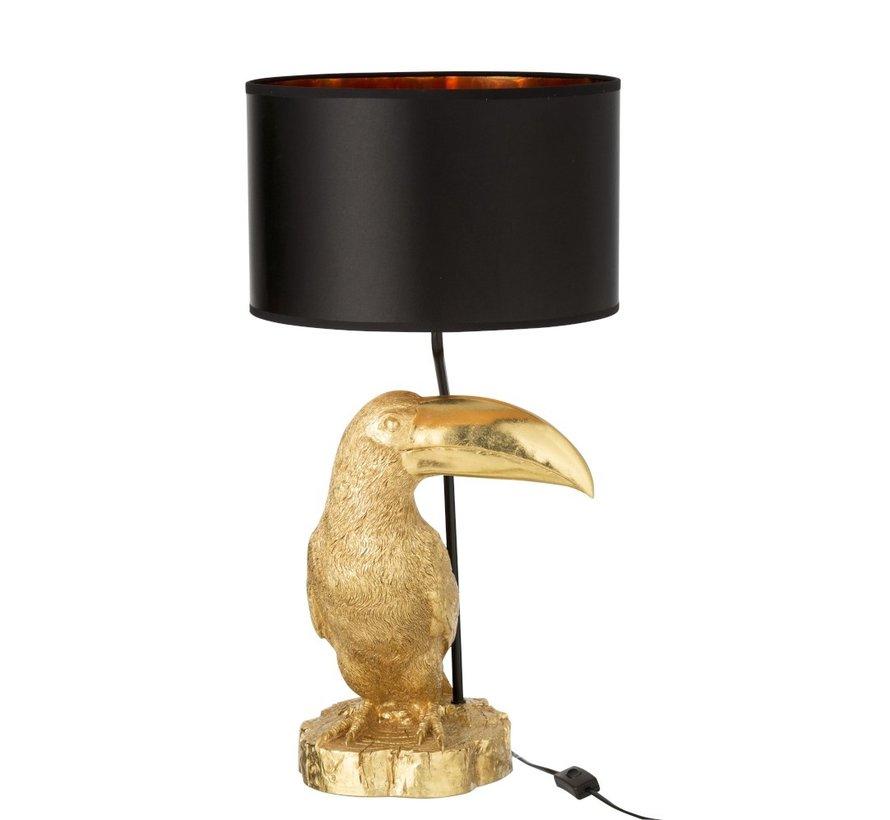 Tafellamp Toekan Zwarte Lampenkap - Goud