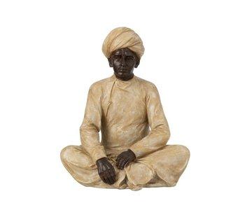 J-Line Decoratie Figuur Zittende Indische Man Beige - Bruin