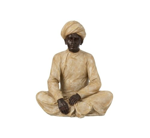 J -Line Decoration Figure Seated Indian Man Beige - Brown