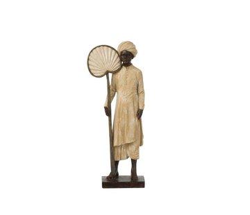 J-Line Decoration Figure Standing Man With Fan Beige - Brown