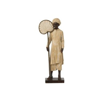 J -Line Decoration Figure Standing Man With Fan Beige - Brown