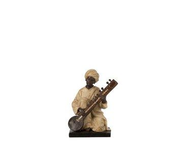 J-Line Decoration Figure Man With Musical Instrument Beige - Brown