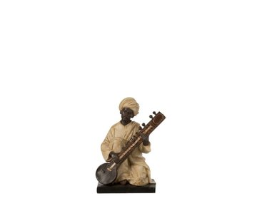 J -Line Decoration Figure Man With Musical Instrument Beige - Brown