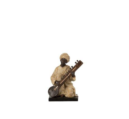 J-Line Decoratie Figuur Man Met Muziekinstrument Beige - Bruin