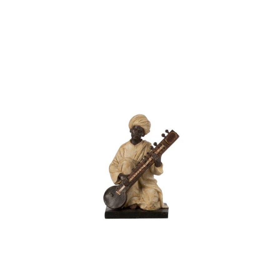 Decoratie Figuur Man Met Muziekinstrument Beige - Bruin