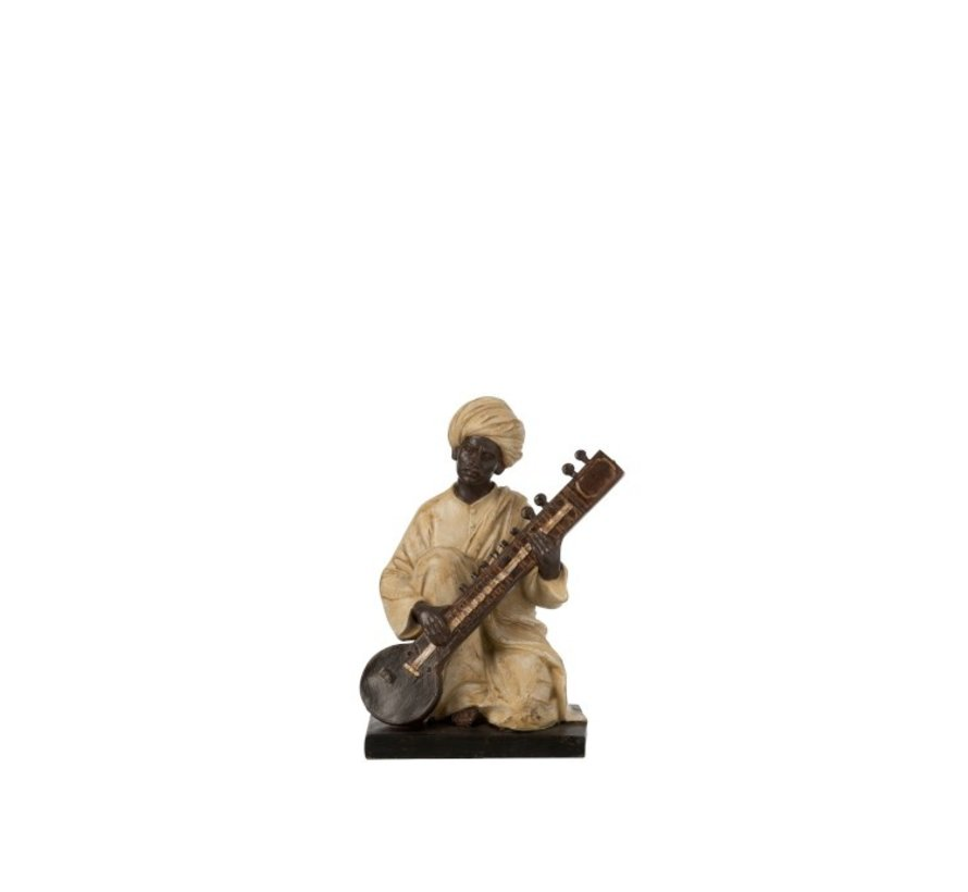 Decoration Figure Man With Musical Instrument Beige - Brown