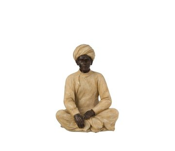 J-Line Decoratie Figuur Indische Man Beige Bruin - Medium