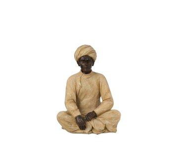 J-Line Decoration Figure Indian Man Beige Brown - Medium