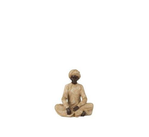 J-Line Decoration Figure Indian Man Beige Brown - Small