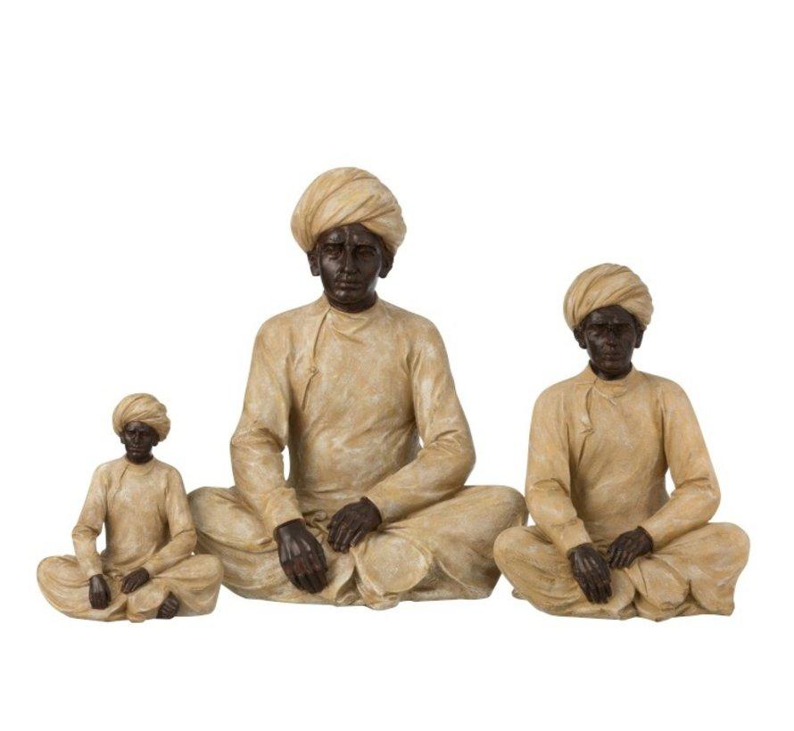 Decoratie Figuur Indische Man Beige Bruin - Small