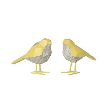 J -Line Decoratie Beeldjes Abstracte Vogels Geel - Wit