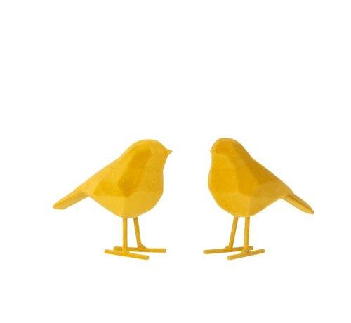 J -Line Decoratie Beeldjes Abstracte Vogels - Geel