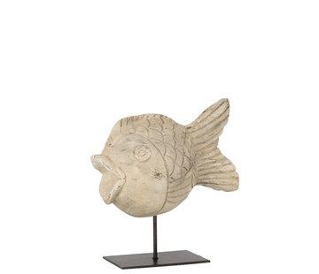 J -Line Decoration Figure Sphere Fish On Tripod - beige