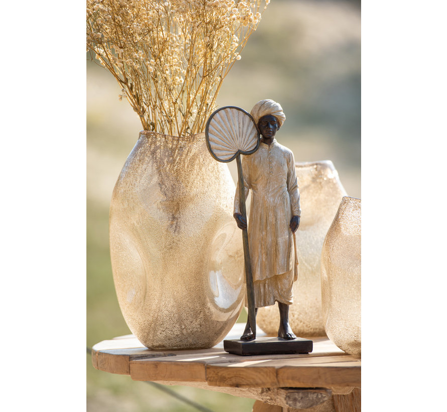 Decoration Figure Standing Man With Fan Beige - Brown