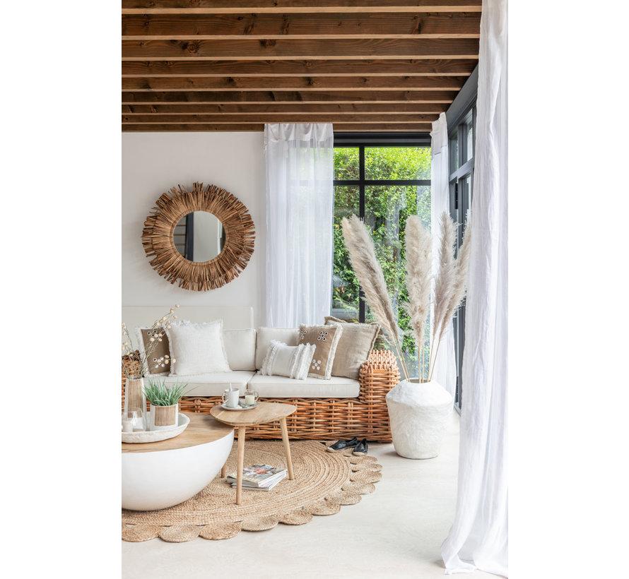 Cushion Square Mirrors Burlap Brown - White