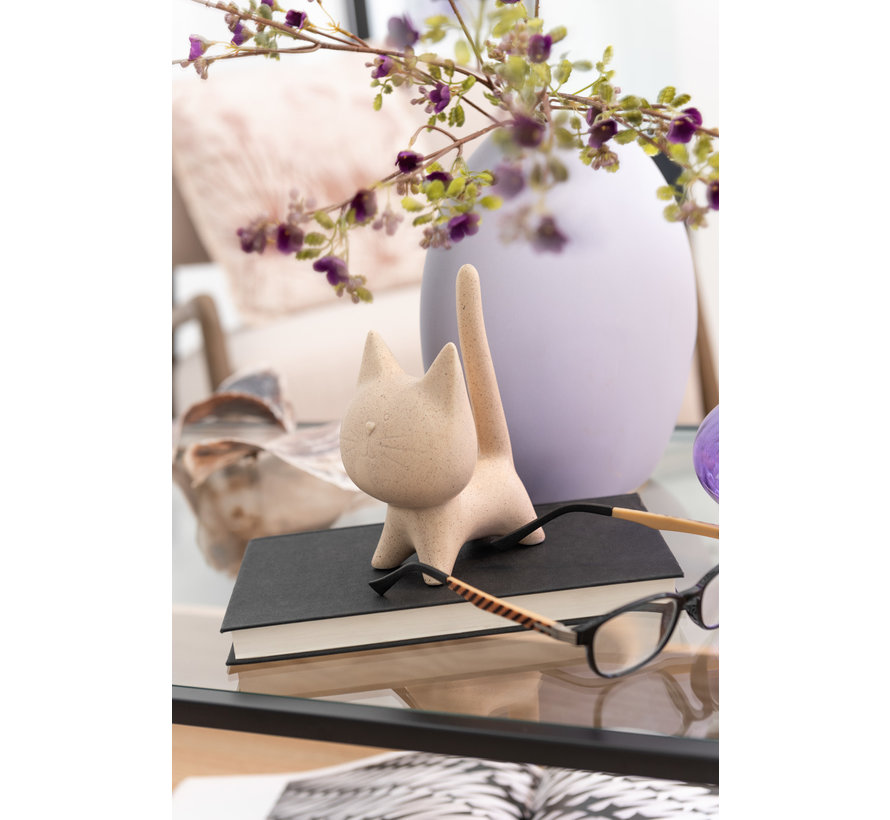 Decoratie Figuur Kat Abstract Beige - Extra Large
