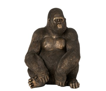 J-Line  Decoratie Zittende Gorilla Donkerbruin Brons - Large