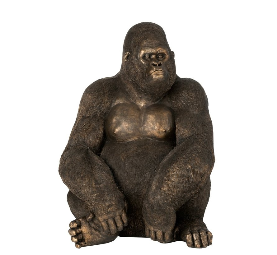 Decoration Sitting Gorilla Dark Brown Bronze - Large