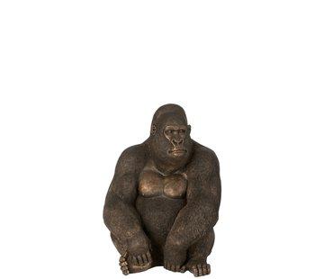 J-Line Decoration Sitting Gorilla Dark Brown Bronze - Medium