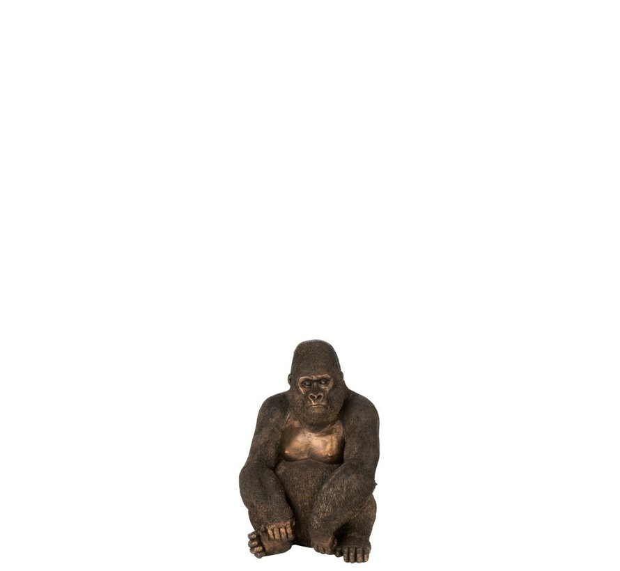 Decoratie Zittende Gorilla Donkerbruin Brons - Small