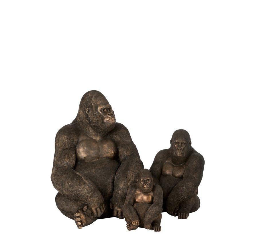 Decoration Sitting Gorilla Dark Brown Bronze - Small