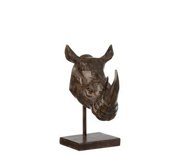 J-Line Decoration Figure Rhino head On Tripod - Brown